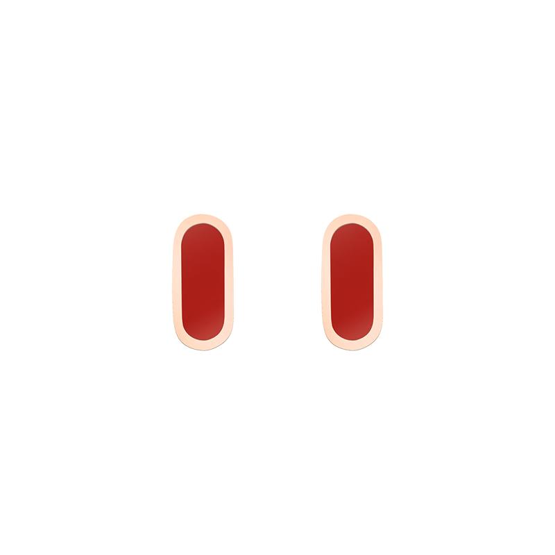 Boucles d'oreilles So Shocking Primavera en or rose et céramique rouge
