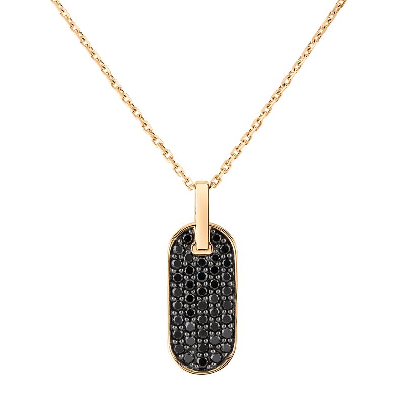 Collier Singulière vertical en or rose et diamants noirs