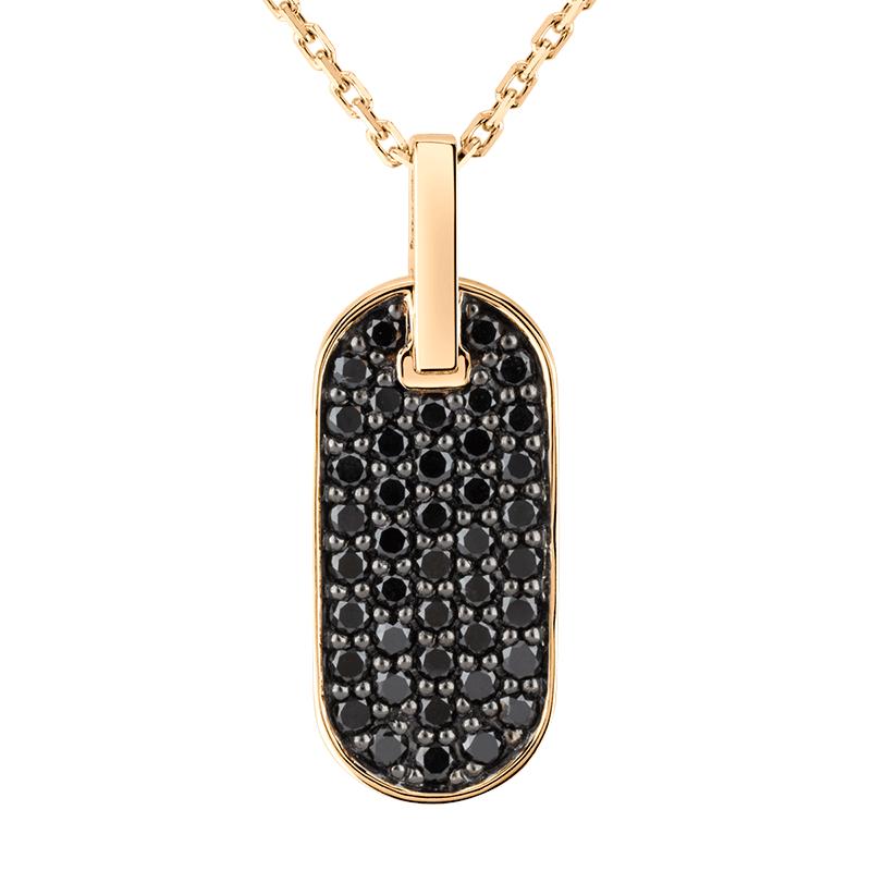 Collier So Shocking Lune di miele vertical en or rose et diamants noirs