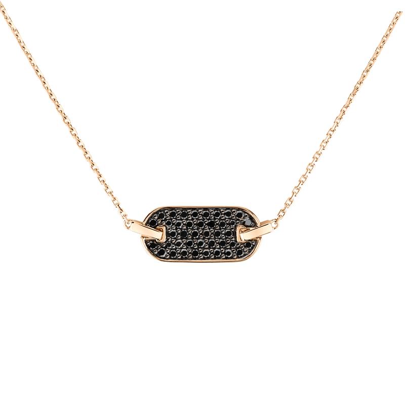 Collier So Shocking Lune di miele horizontal en or rose et diamants noirs