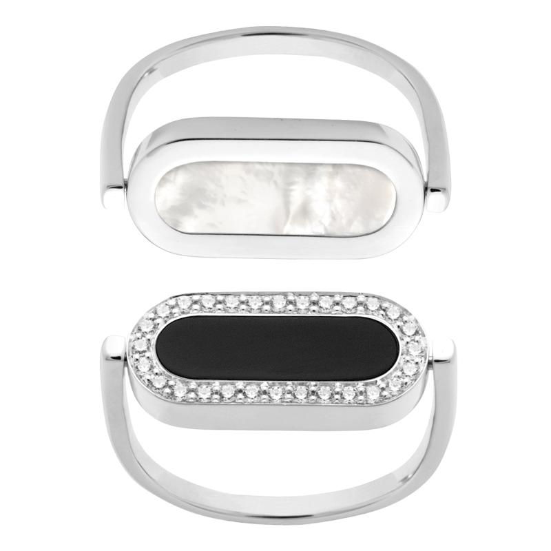 Bague So Shocking réversible Inverso en or blanc nacre onyx et diamants