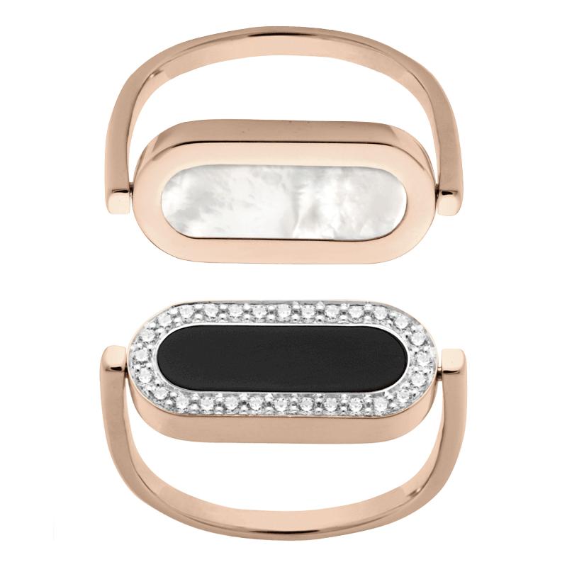 Bague So Shocking réversible Inverso en or rose nacre onyx et diamants