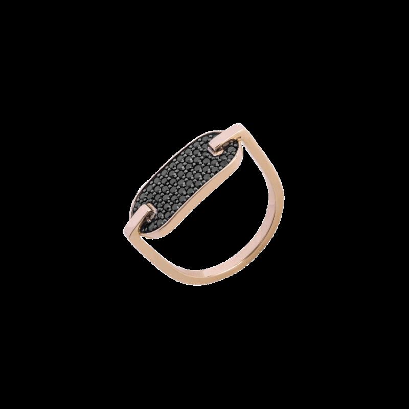 Bague Singulière pavée en or rose et diamants noirs
