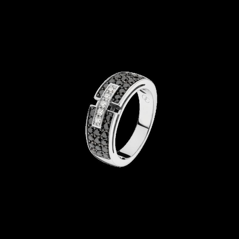 Bague Capricieuse petit modèle en or blanc et diamants noirs