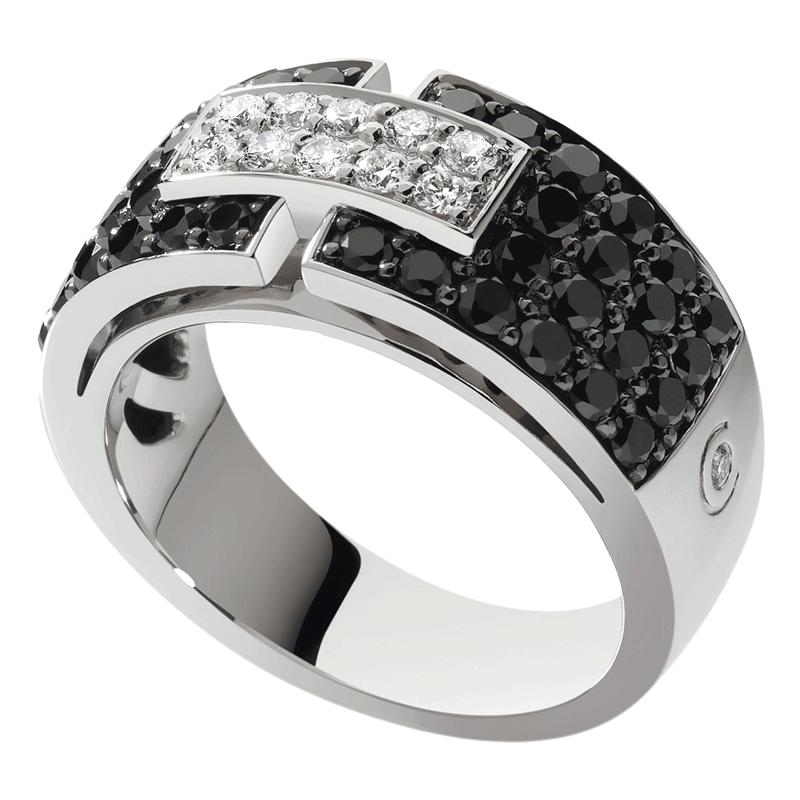 Bague So Shocking Capriccio moyen modèle en or blanc et diamants noirs
