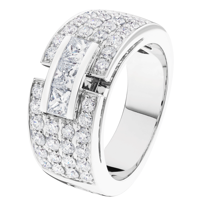Bague Capricieuse pavée en or blanc et diamants
