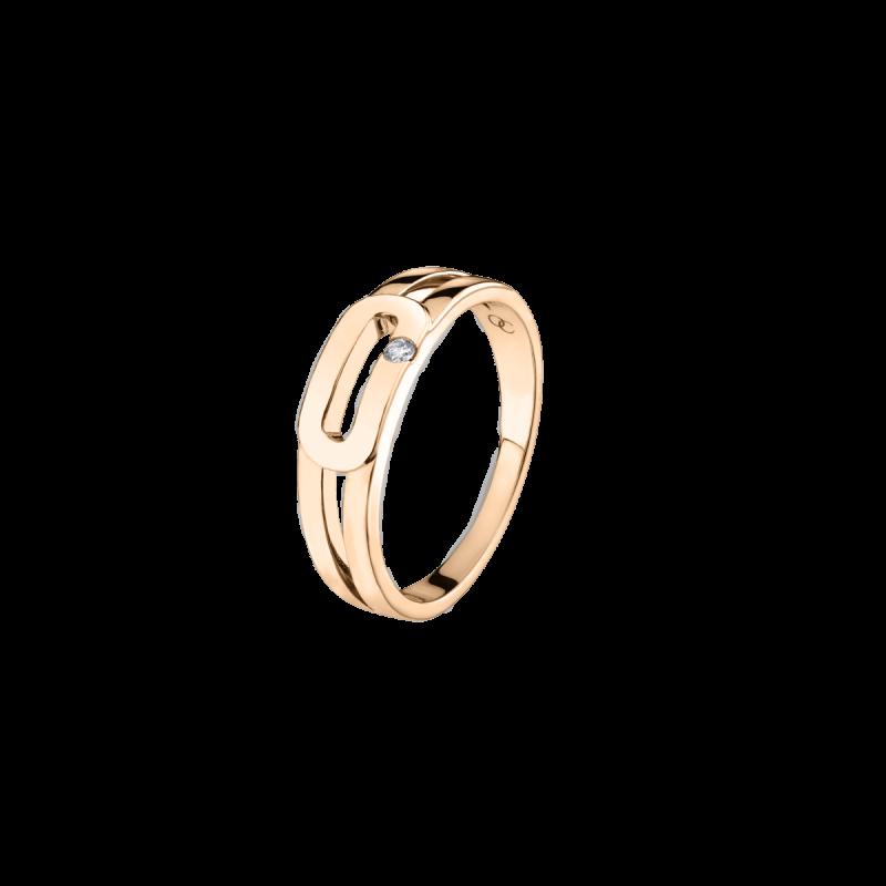 Bague Singulière en or rose et diamant