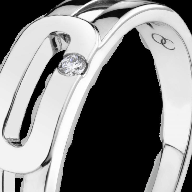Bague Singulière en or blanc et diamant